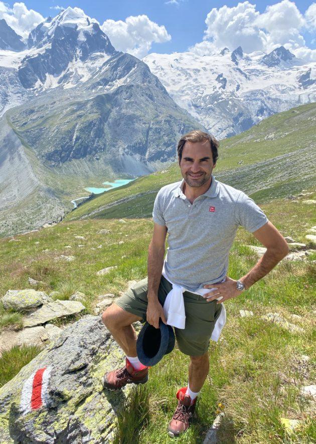 RF en randonnée dans les Alpes suisses @Roger Federer